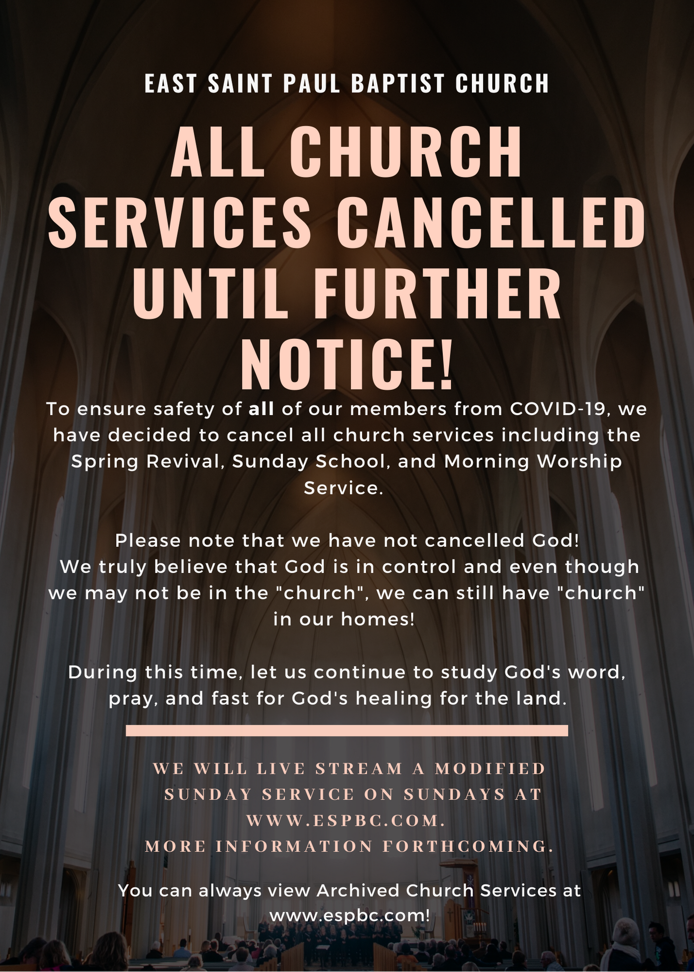 Church Service Cancelled